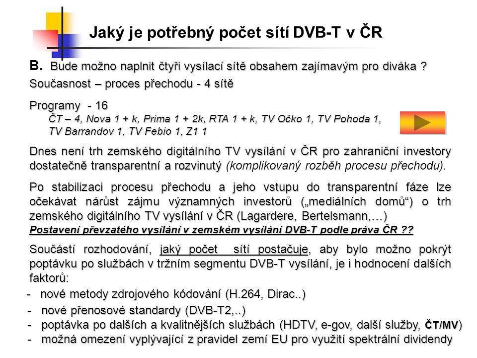 Jaký je potřebný počet sítí DVB-T v ČR