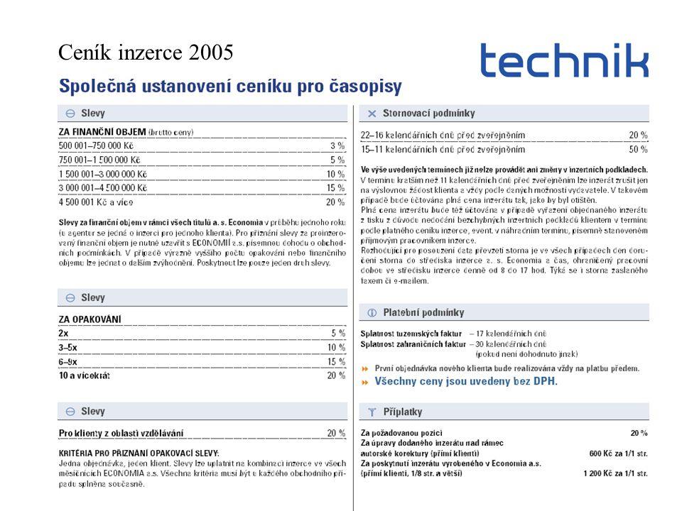 Ceník inzerce 2005
