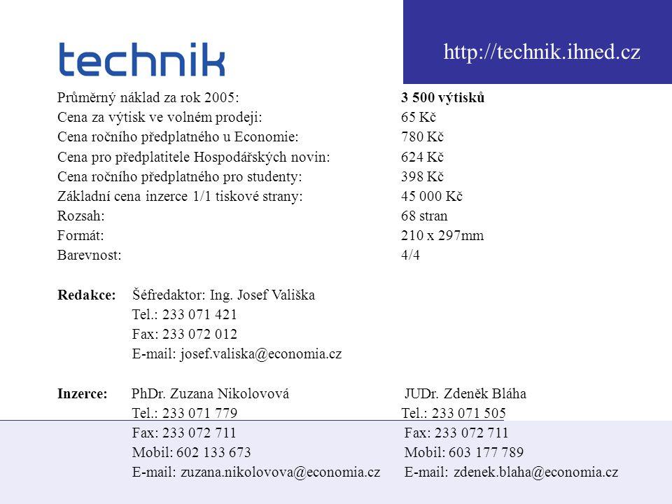 http://technik.ihned.cz Průměrný náklad za rok 2005: 3 500 výtisků