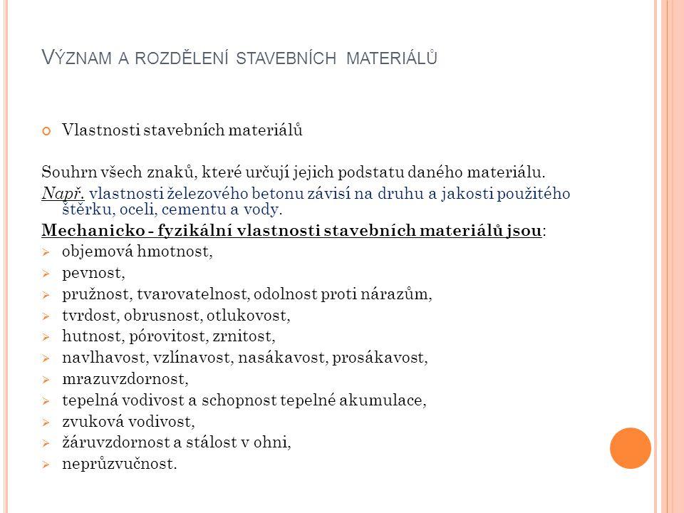 Význam a rozdělení stavebních materiálů