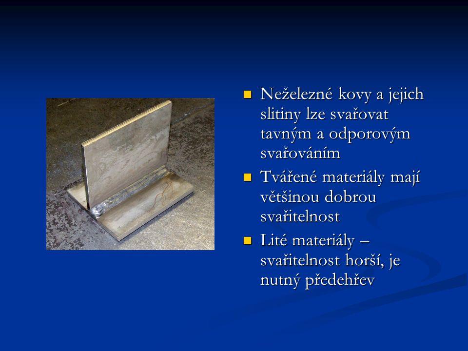 Neželezné kovy a jejich slitiny lze svařovat tavným a odporovým svařováním