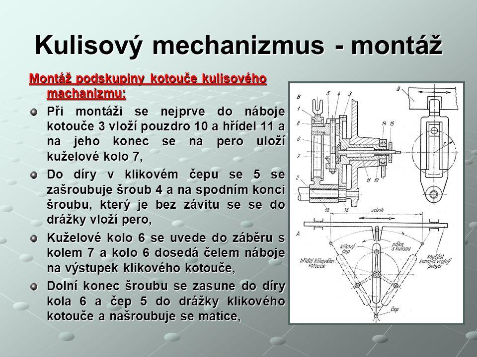 Kulisový mechanizmus - montáž