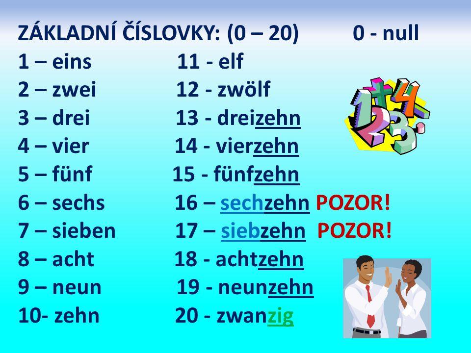 ZÁKLADNÍ ČÍSLOVKY: (0 – 20) 0 - null