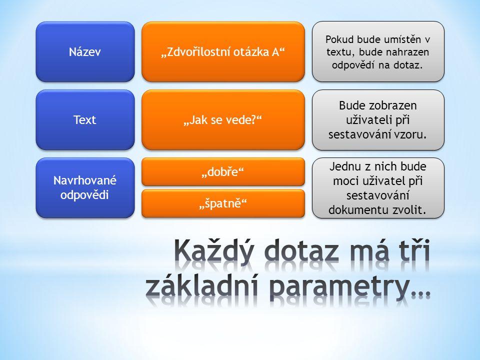 Každý dotaz má tři základní parametry…