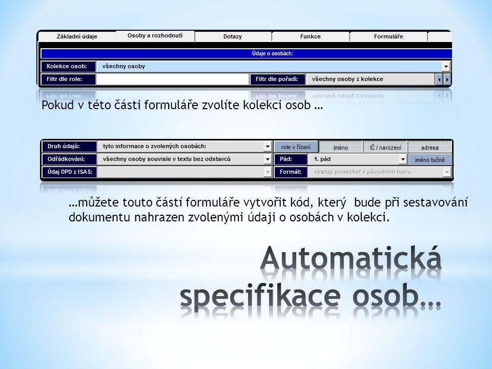 Automatická specifikace osob…