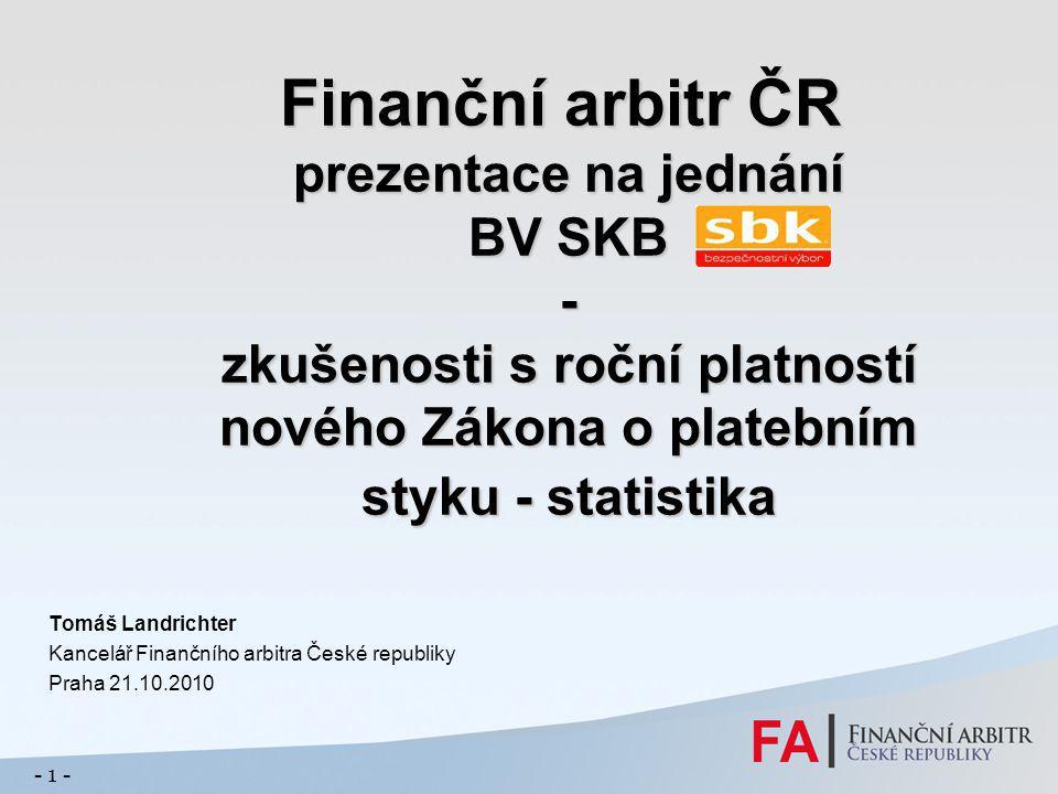 Finanční arbitr ČR prezentace na jednání BV SKB - zkušenosti s roční platností nového Zákona o platebním styku - statistika