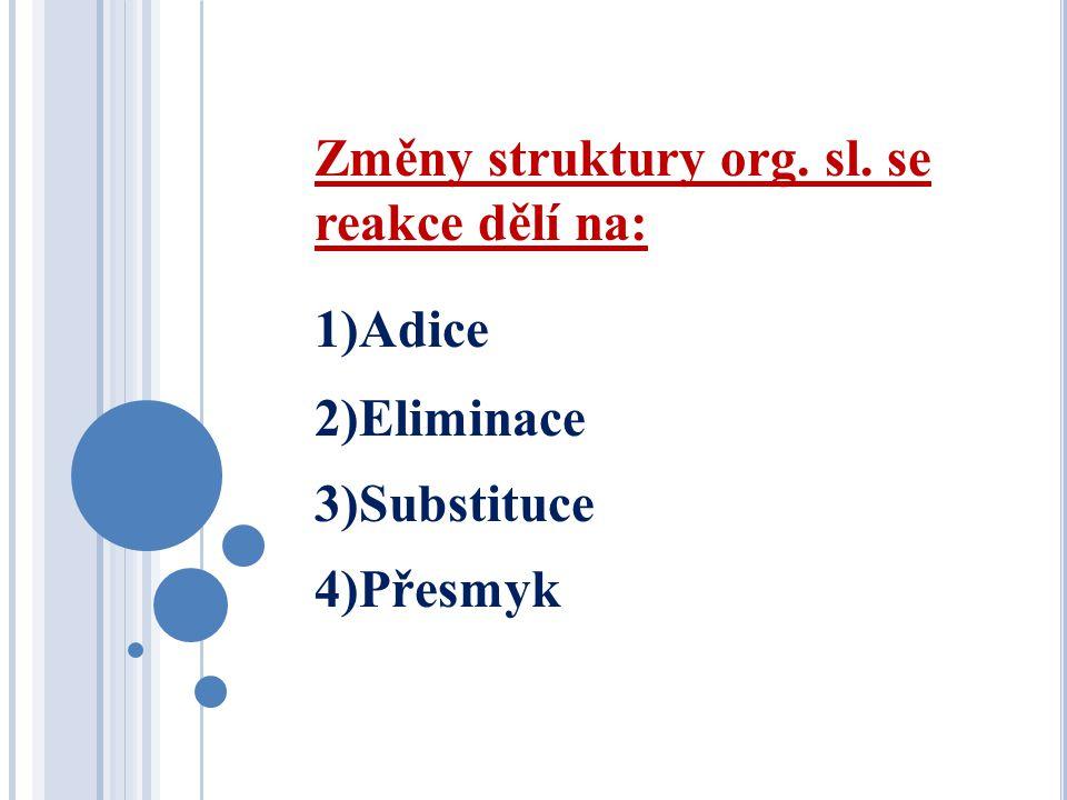 Změny struktury org. sl. se reakce dělí na: