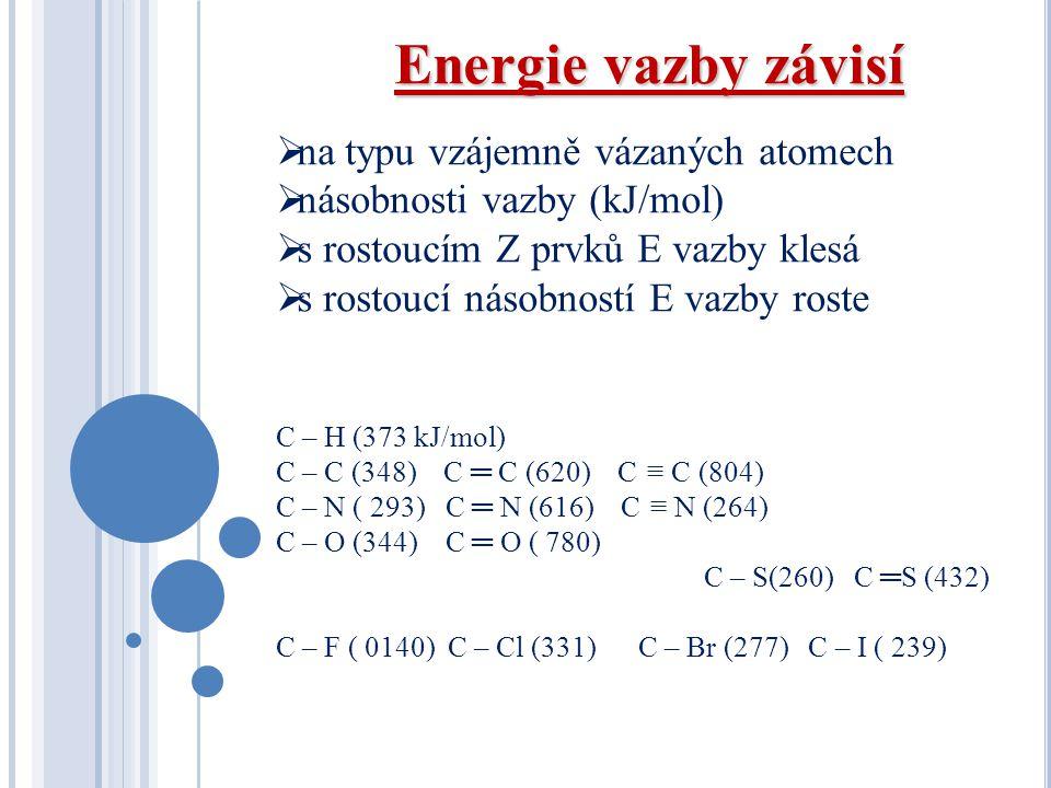 Energie vazby závisí na typu vzájemně vázaných atomech