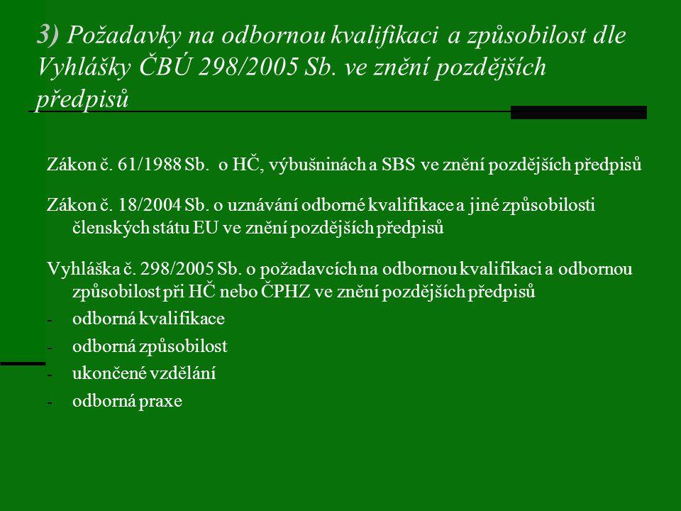 3) Požadavky na odbornou kvalifikaci a způsobilost dle Vyhlášky ČBÚ 298/2005 Sb. ve znění pozdějších předpisů