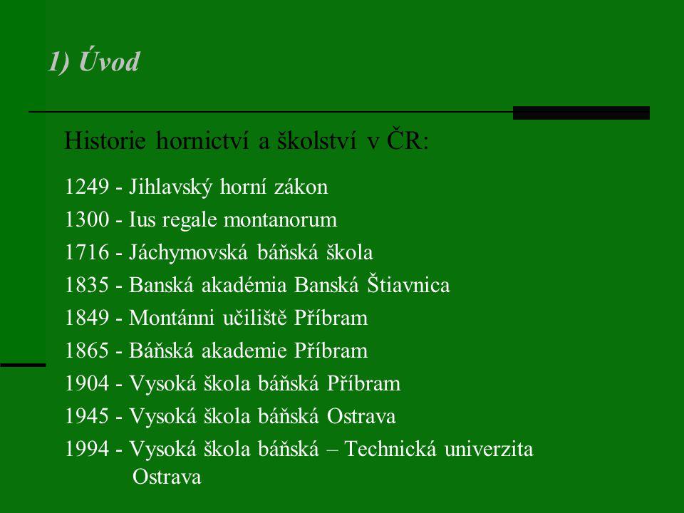 1) Úvod Historie hornictví a školství v ČR: