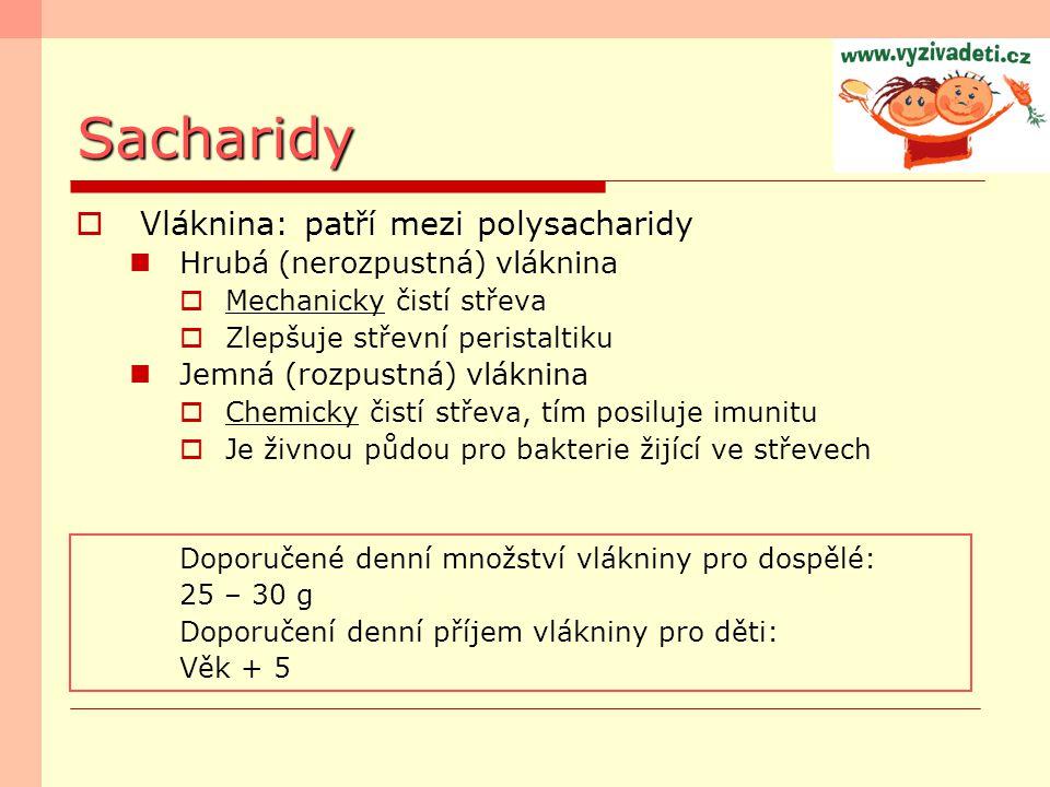 Sacharidy Vláknina: patří mezi polysacharidy