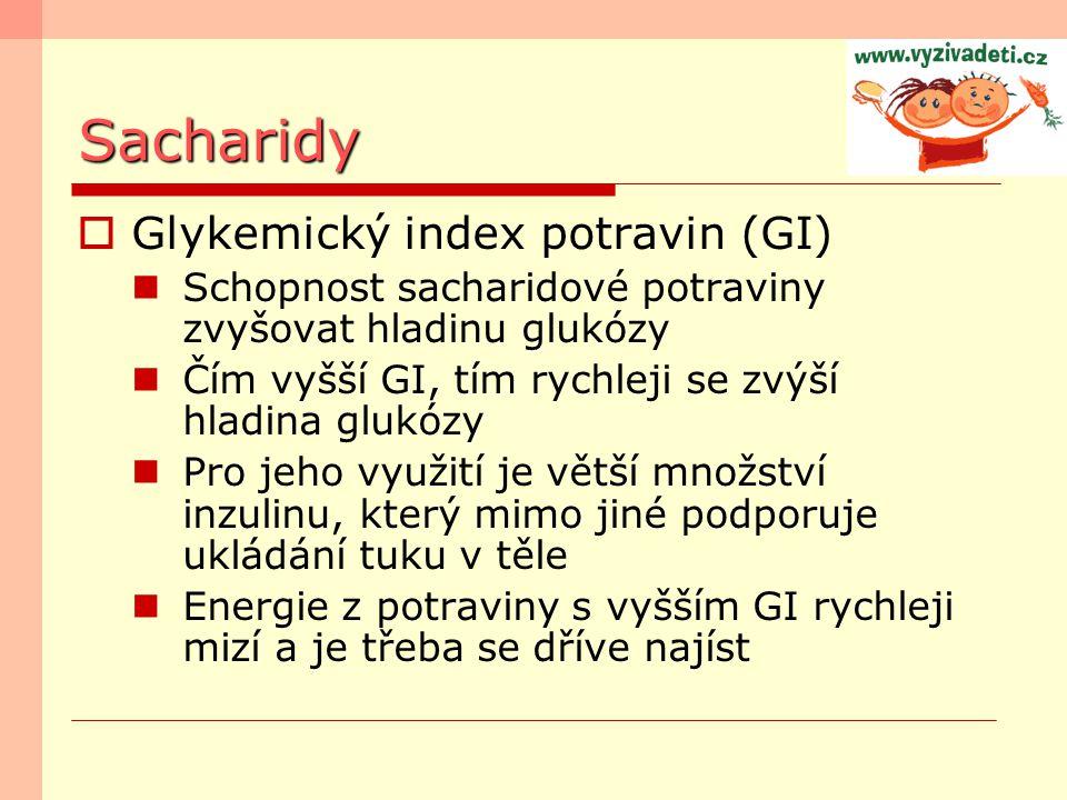 Sacharidy Glykemický index potravin (GI)
