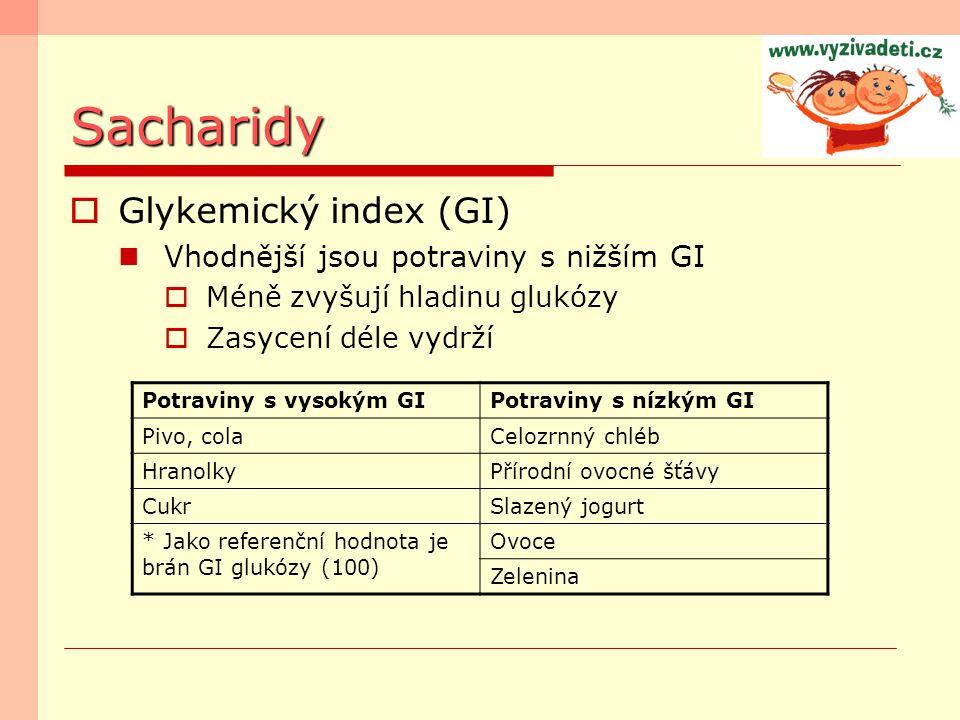 Sacharidy Glykemický index (GI) Vhodnější jsou potraviny s nižším GI