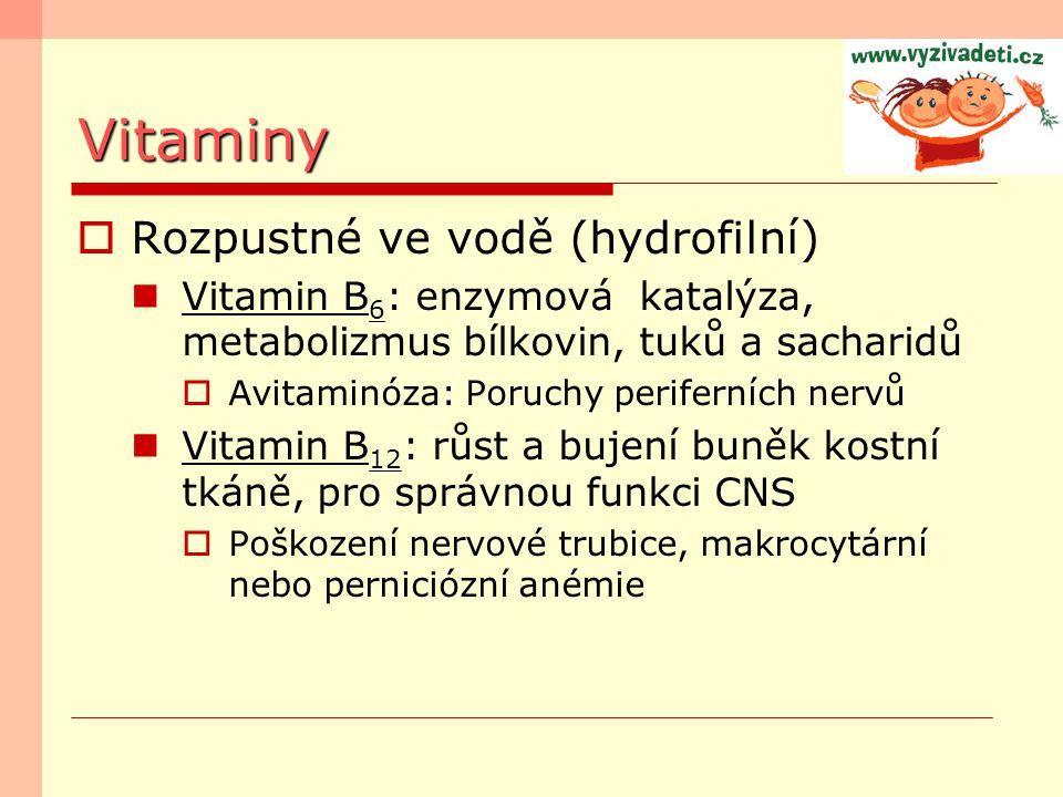 Vitaminy Rozpustné ve vodě (hydrofilní)