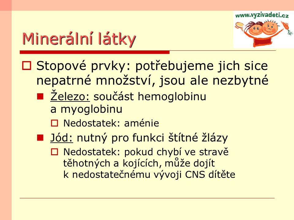 Minerální látky Stopové prvky: potřebujeme jich sice nepatrné množství, jsou ale nezbytné. Železo: součást hemoglobinu a myoglobinu.