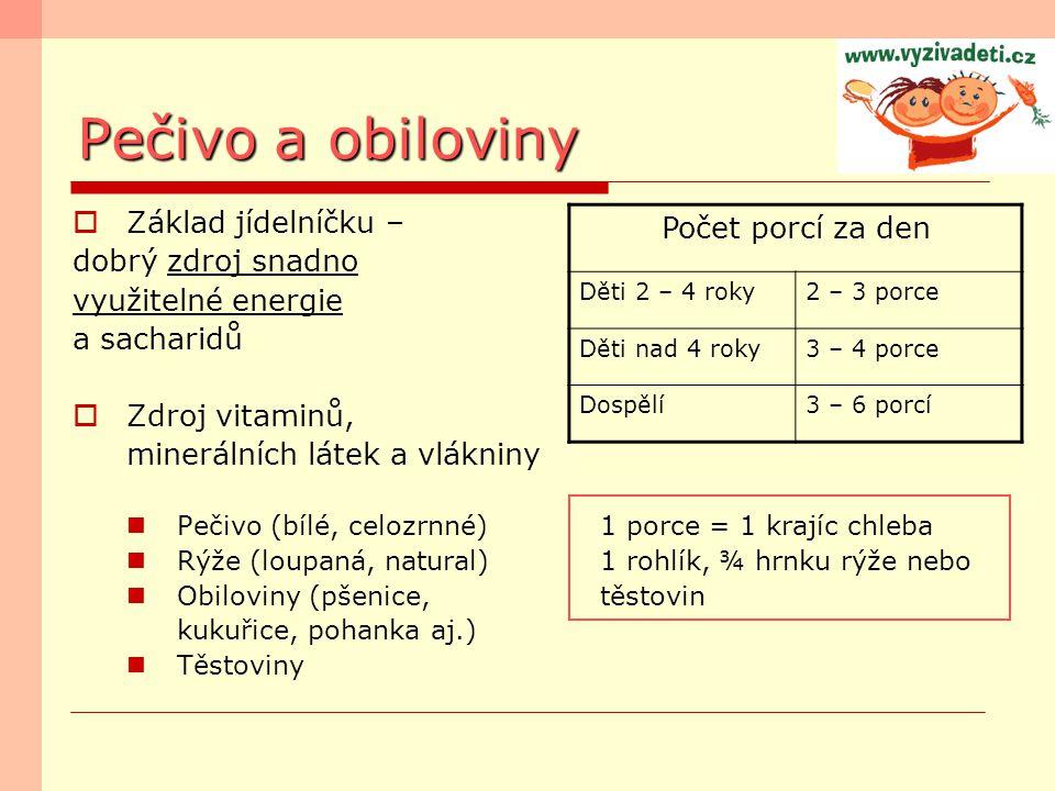 Pečivo a obiloviny Počet porcí za den Základ jídelníčku –