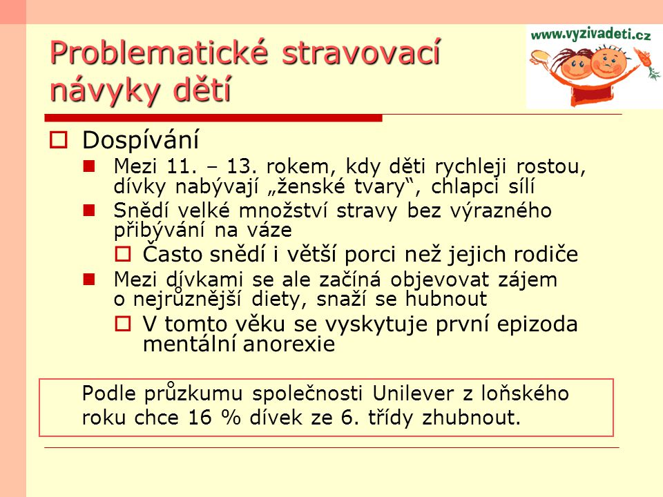 Problematické stravovací návyky dětí