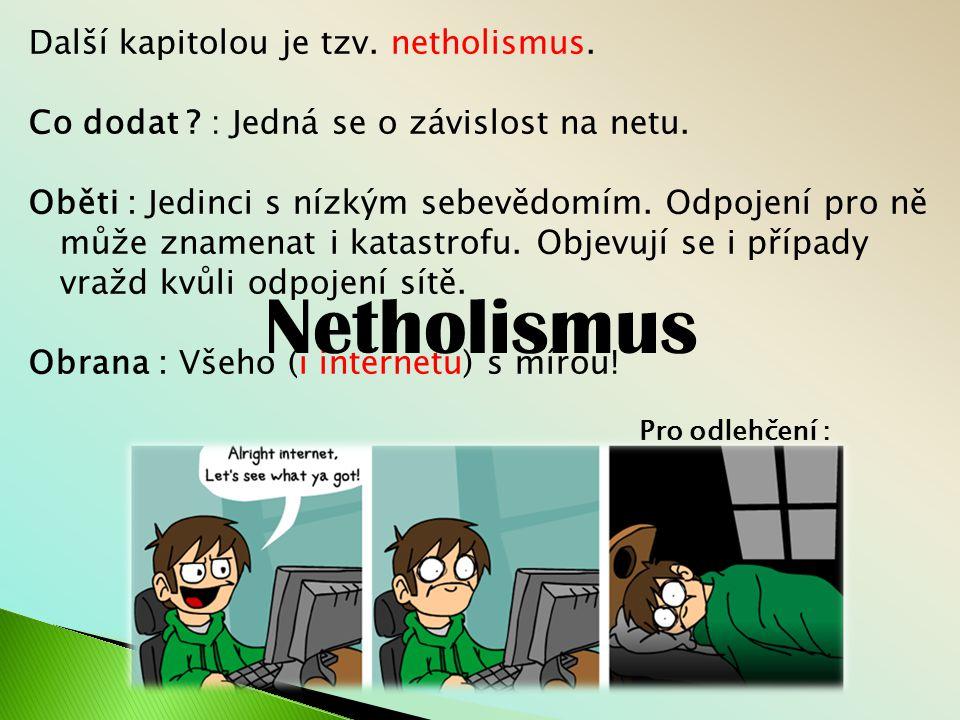 Netholismus Další kapitolou je tzv. netholismus.