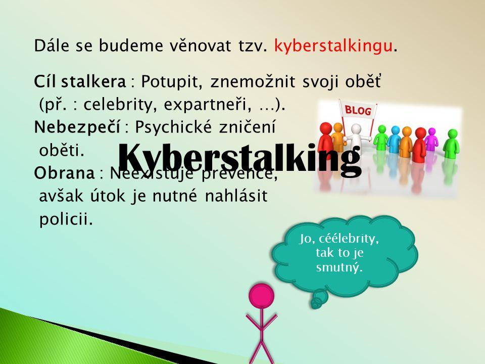 Dále se budeme věnovat tzv. kyberstalkingu
