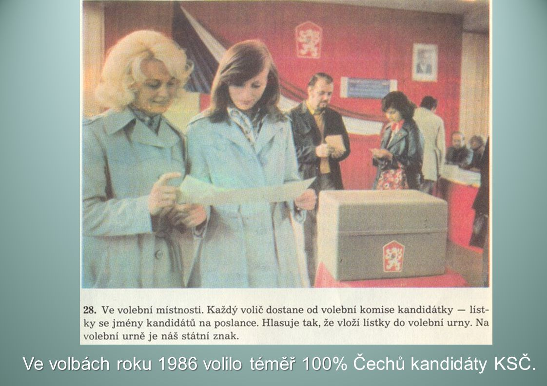 Ve volbách roku 1986 volilo téměř 100% Čechů kandidáty KSČ.