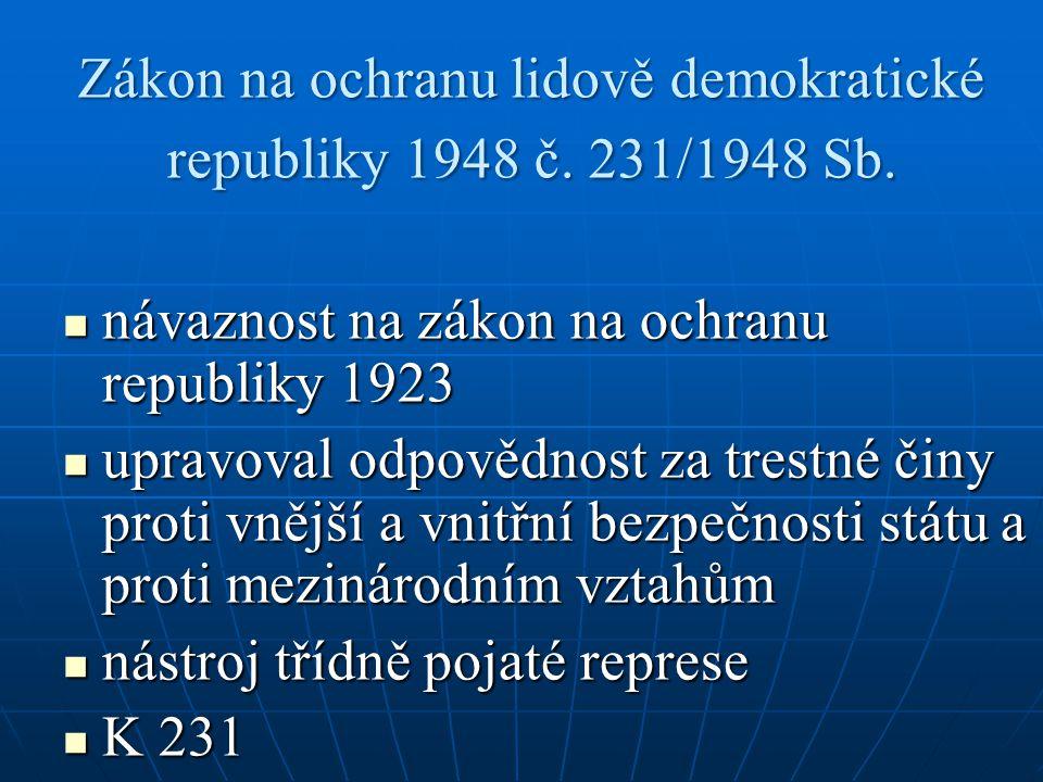 Zákon na ochranu lidově demokratické republiky 1948 č. 231/1948 Sb.