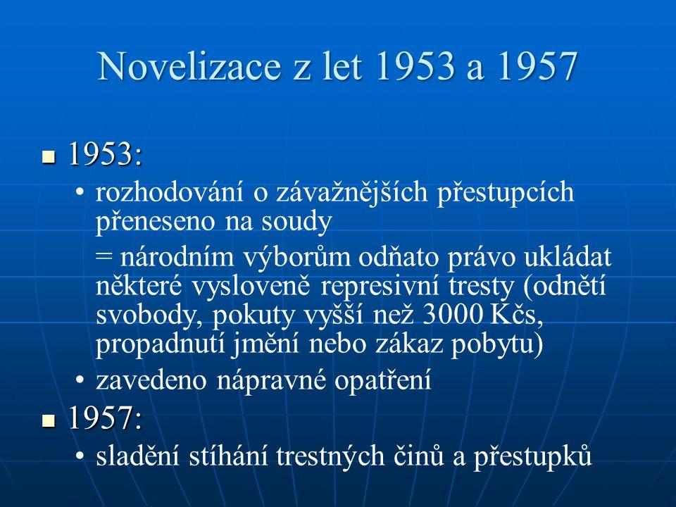 Novelizace z let 1953 a 1957 1953: rozhodování o závažnějších přestupcích přeneseno na soudy.