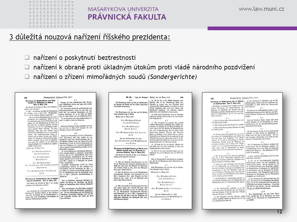 3 důležitá nouzová nařízení říšského prezidenta: