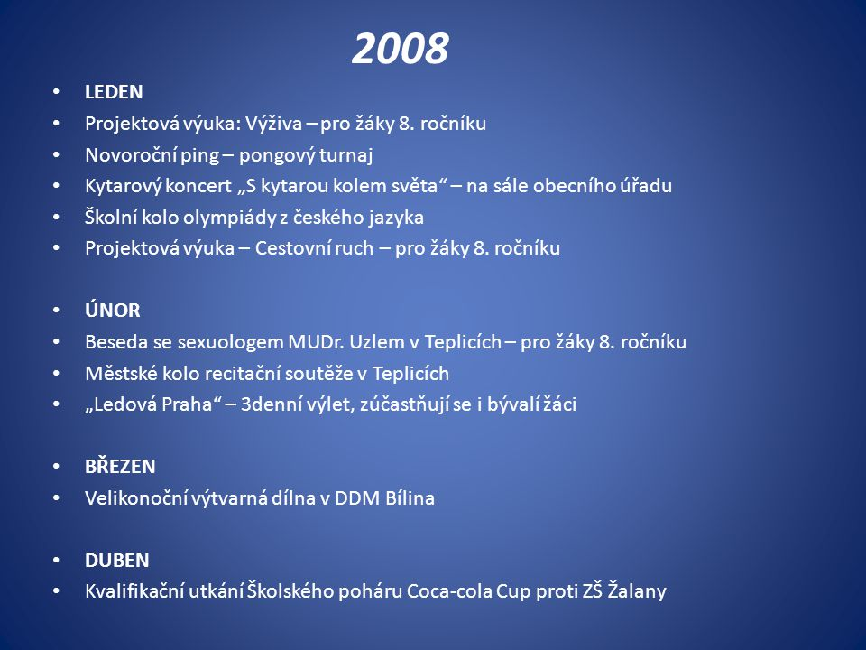 2008 LEDEN Projektová výuka: Výživa – pro žáky 8. ročníku