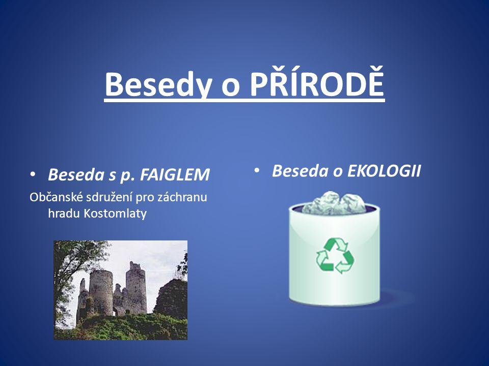Besedy o PŘÍRODĚ Beseda o EKOLOGII Beseda s p. FAIGLEM
