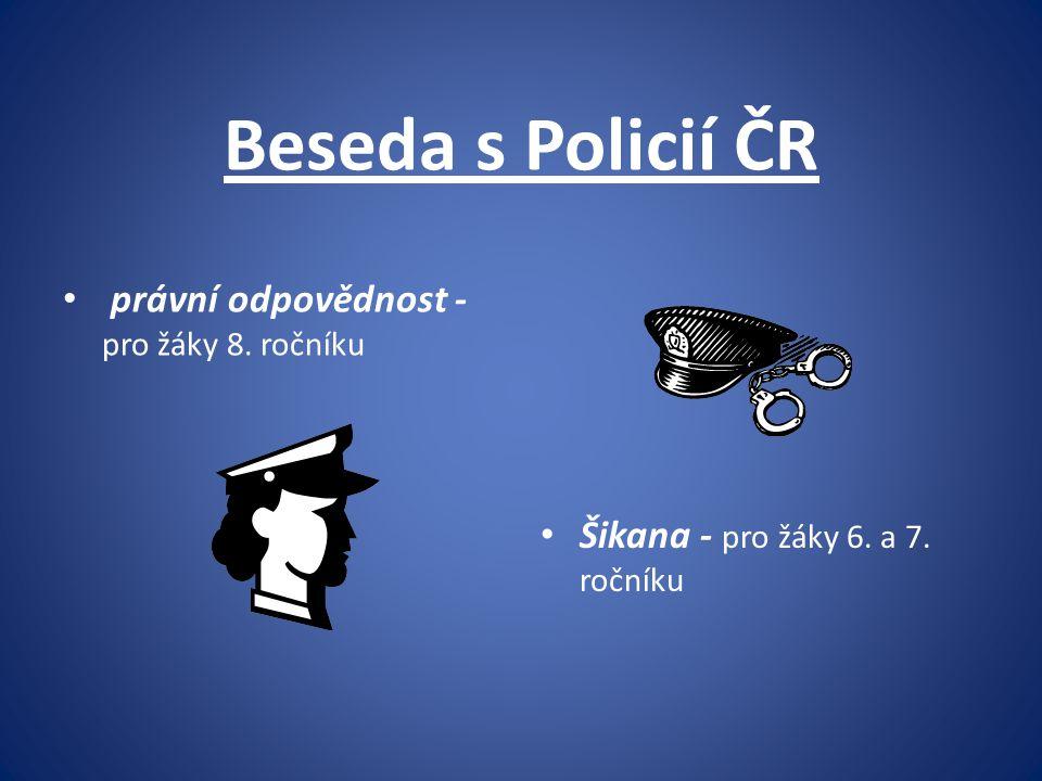 Beseda s Policií ČR právní odpovědnost - pro žáky 8. ročníku