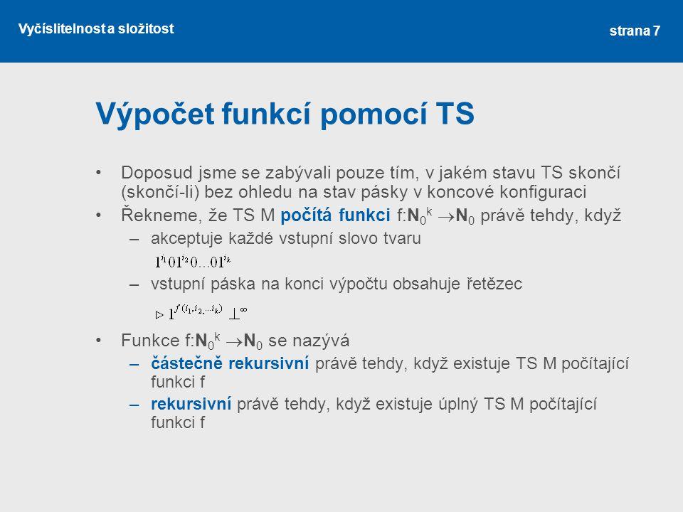 Výpočet funkcí pomocí TS