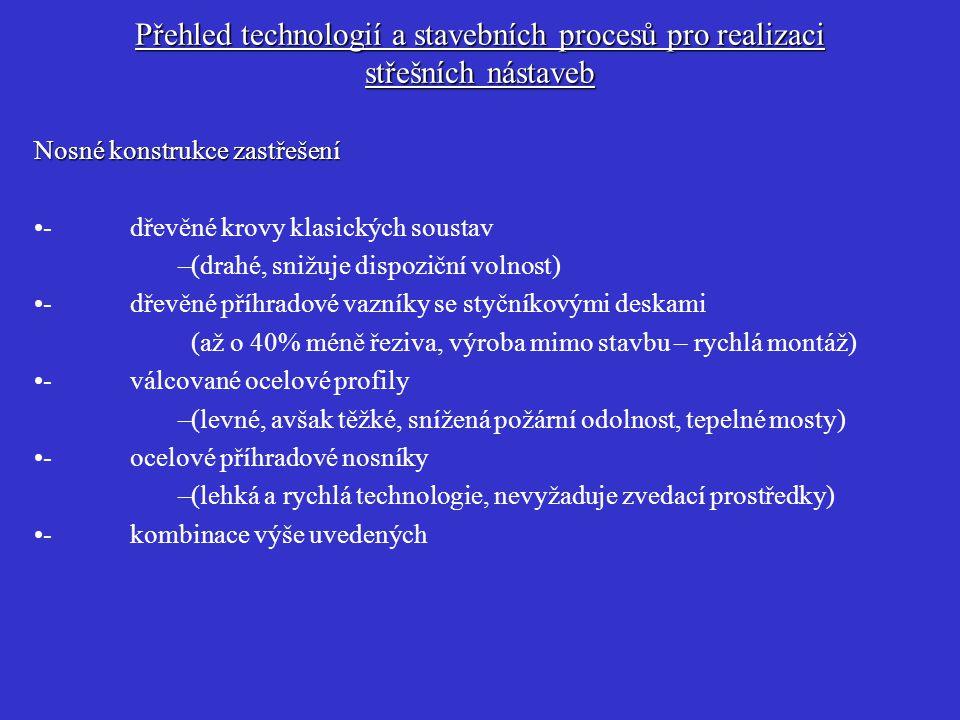 Přehled technologií a stavebních procesů pro realizaci střešních nástaveb