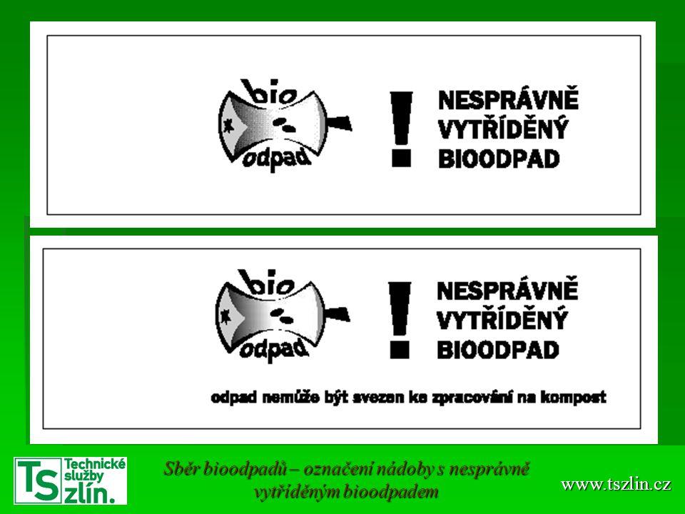 Sběr bioodpadů – označení nádoby s nesprávně vytříděným bioodpadem