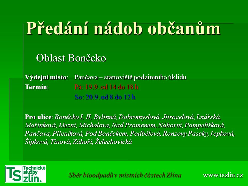 Sběr bioodpadů v místních částech Zlína