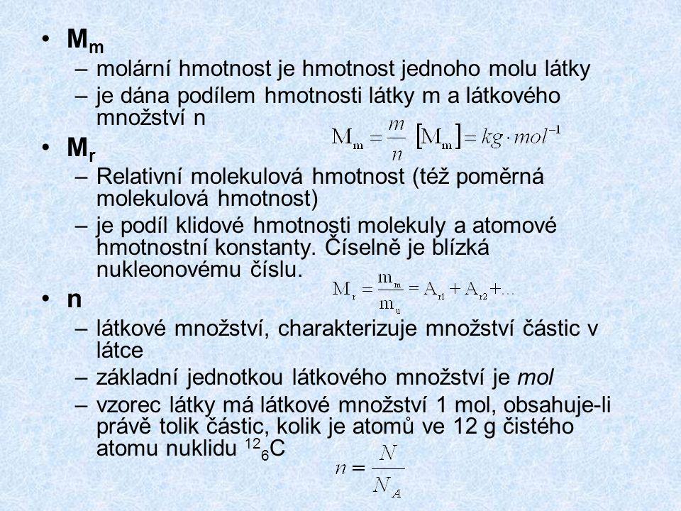 Mm Mr n molární hmotnost je hmotnost jednoho molu látky