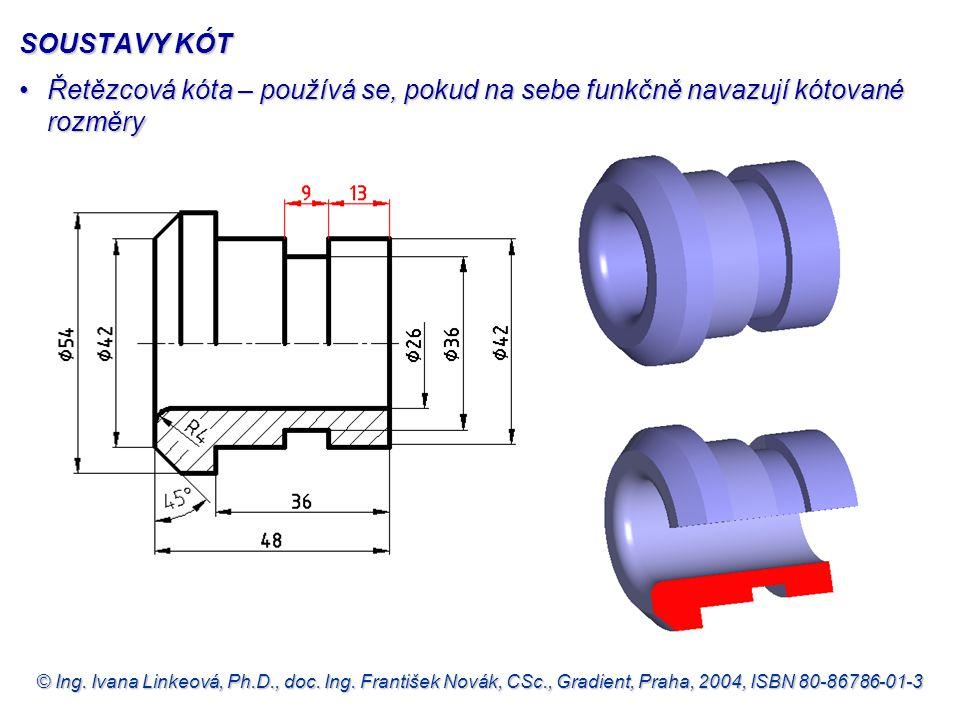 SOUSTAVY KÓT Řetězcová kóta – používá se, pokud na sebe funkčně navazují kótované rozměry.