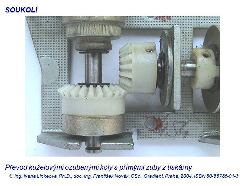 Převod kuželovými ozubenými koly s přímými zuby z tiskárny