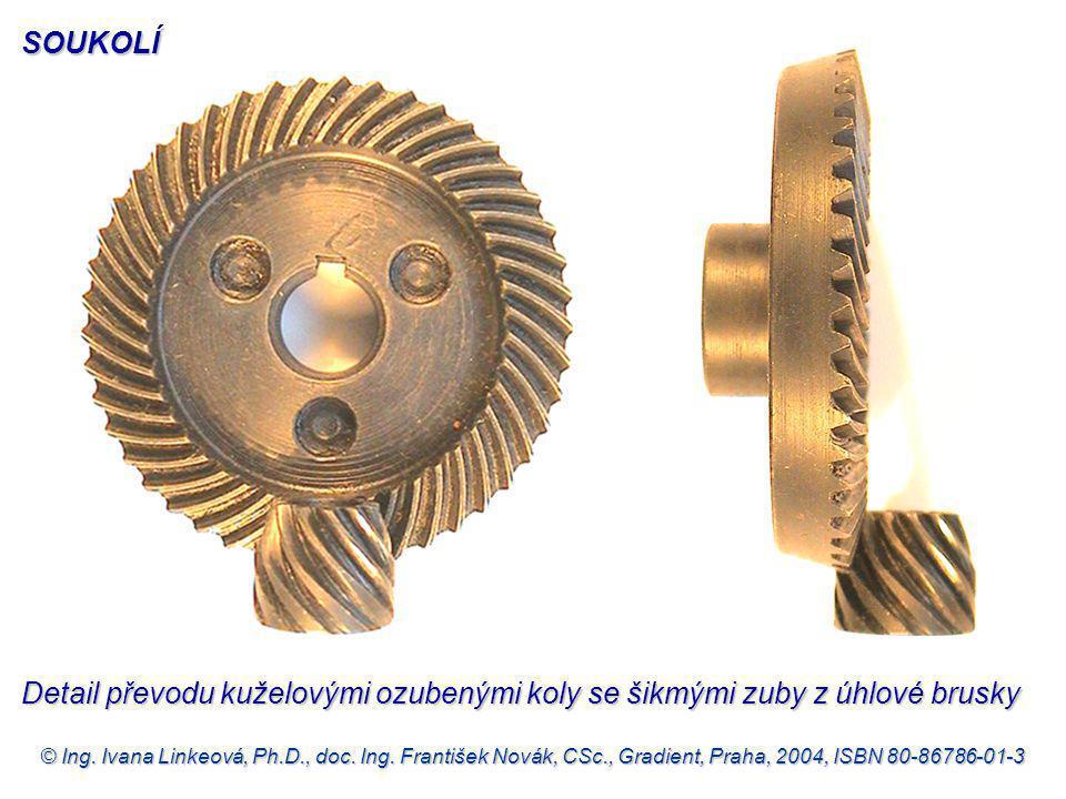 SOUKOLÍ Detail převodu kuželovými ozubenými koly se šikmými zuby z úhlové brusky.