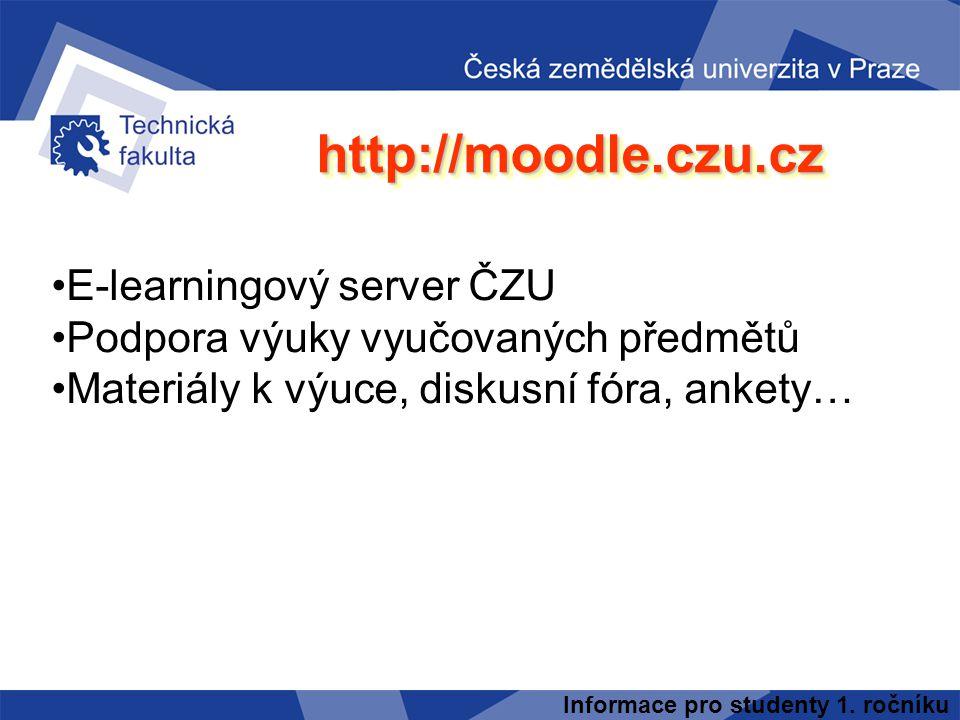http://moodle.czu.cz E-learningový server ČZU
