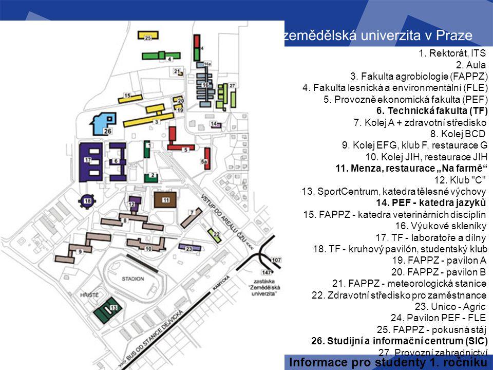 Mapa ČZU Informace pro studenty 1. ročníku 1. Rektorát, ITS 2. Aula