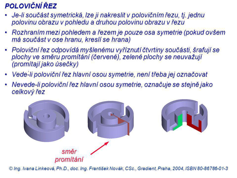 Vede-li poloviční řez hlavní osou symetrie, není třeba jej označovat