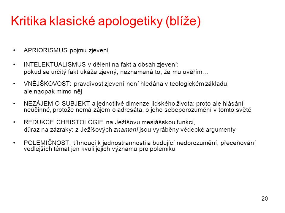 Kritika klasické apologetiky (blíže)