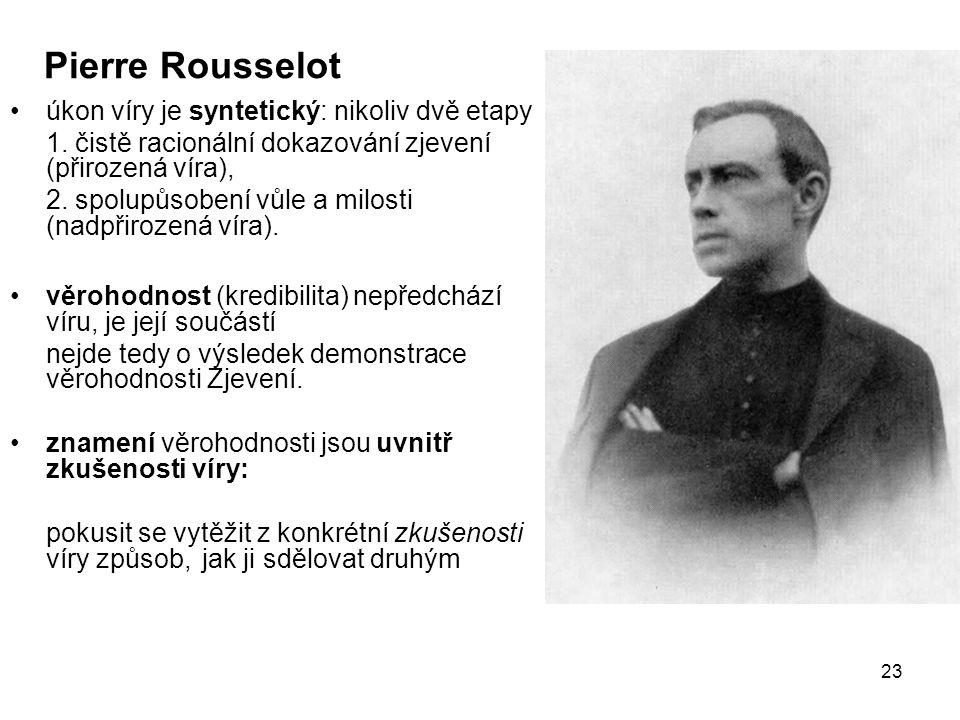 Pierre Rousselot úkon víry je syntetický: nikoliv dvě etapy