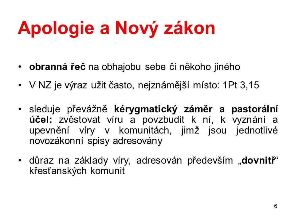 Apologie a Nový zákon obranná řeč na obhajobu sebe či někoho jiného