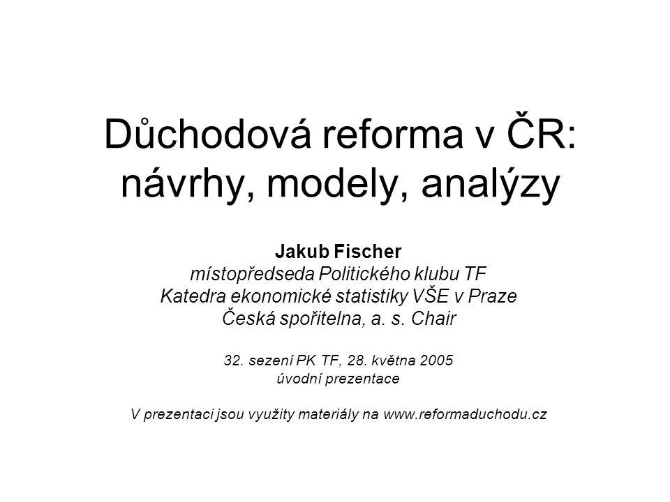 Důchodová reforma v ČR: návrhy, modely, analýzy