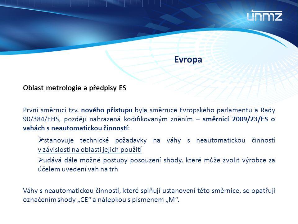 Evropa Oblast metrologie a předpisy ES.