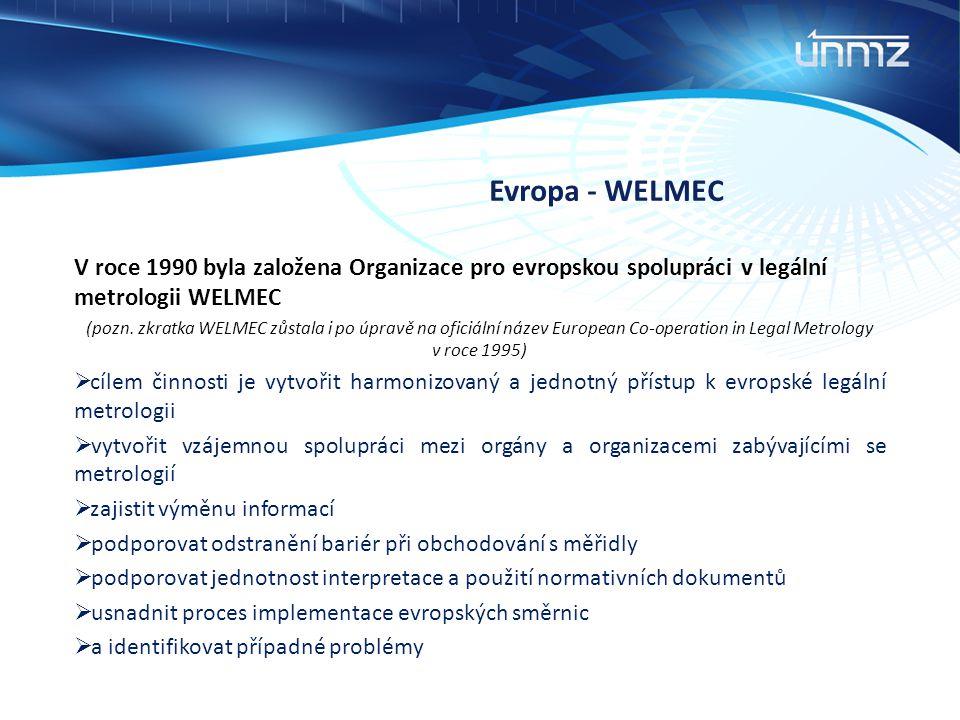Evropa - WELMEC V roce 1990 byla založena Organizace pro evropskou spolupráci v legální metrologii WELMEC.