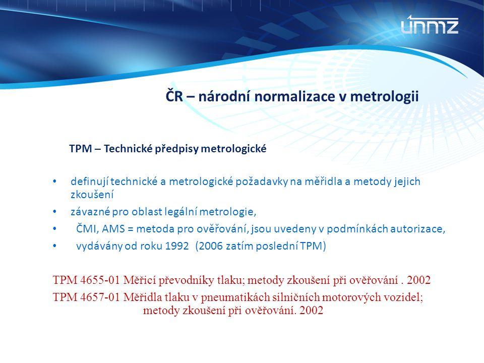 ČR – národní normalizace v metrologii