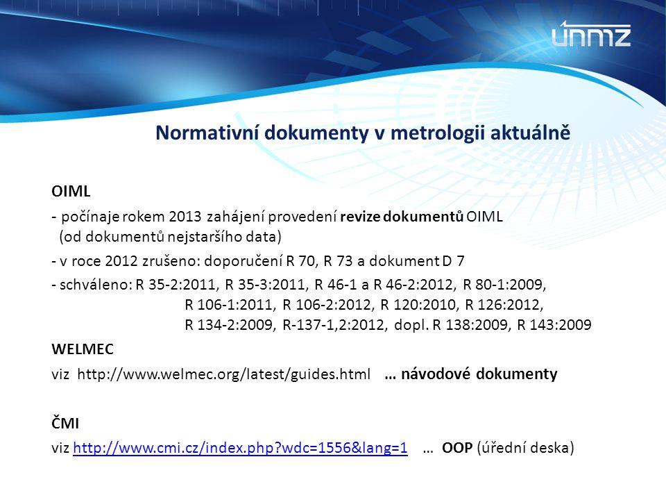 Normativní dokumenty v metrologii aktuálně