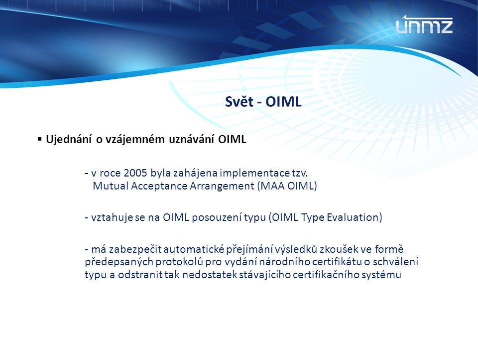 Svět - OIML Ujednání o vzájemném uznávání OIML